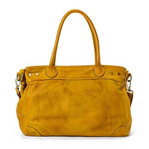 Ira del Valle, Borsa Donna, In Vera Pelle, Vintage, Borsa tracolla donna, Modello Santa Monica Bag, Made In Italy senape