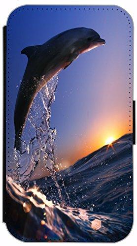 FioMi Flip Cover Schutz Hülle Handy Tasche Etui Case für (Apple iPhone 5 / 5s, 749 Fußball in Flammen Feuer Rot Schwarz) 626 Delfin im Meer Delphin Blau Grau