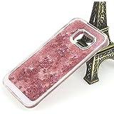 Coque Samsung Galaxy S7 Edge G9350 Liquide Sables Mouvants - Yihya Bling Glitter Étoile Paillettes Étui de Protection Plastique Rigide Transparent Sparkle Quicksands Case Cover - Rose