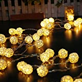 Boule de Rotin Guirlandes Lumineuses, Skitic 5M 40 LED Batterie Operated Blanc Chaud Fairy Lights String pour Noël, Mariage, Patry, Decoration - Style 1