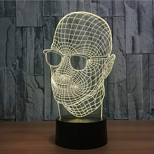Neuheit Sonnenbrille Mann Form 3D Nachtlicht 7 Farben Ändern Led Acryl Schreibtisch Tischlampe Usb Indoor Decor Schlaf Beleuchtung Geschenke