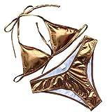 iYmitz Sommer Pailletten Bademode mit Schultergurt Solide Badeanzug für Damen Zweiteiliger Gefüllter BH Beachwear Bikini(Gold