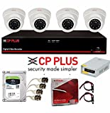 #6: CP Plus & UPVsales™ Full 1.3MP CCTV Combo Set Kit (4Ch DVR + 4Nos. 1.3 Megapixel Dome Camera + Hard Disk Drive + 90Mtr Copper Cable Box + Power Supply + BNC Pins + DC Pins)