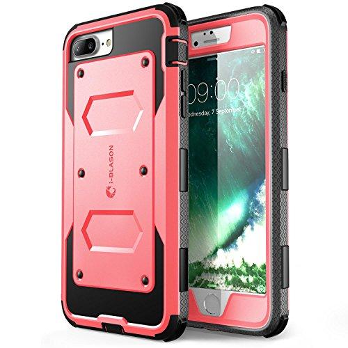iPhone 7 Plus Hülle, iPhone 8 Plus Hülle, i-Blason Armorbox Schutzhülle Cover Full Body Case Schale mit eingebautem Displayschutzfolie und Gürtelclip für Apple iPhone 7 Plus / iPhone 8 Plus,Schwarz rosa