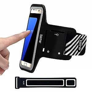 EOTW Brassard Sport pour Samsung Galaxy S7/S6/s6 edge/S5, Brassard téléphone avec espace pour cartes, clés, argent & écouteurs, Bon Maintien pour de Course, Jogging, Vélo, Pêche ( 5,1 Pouces, Noir )