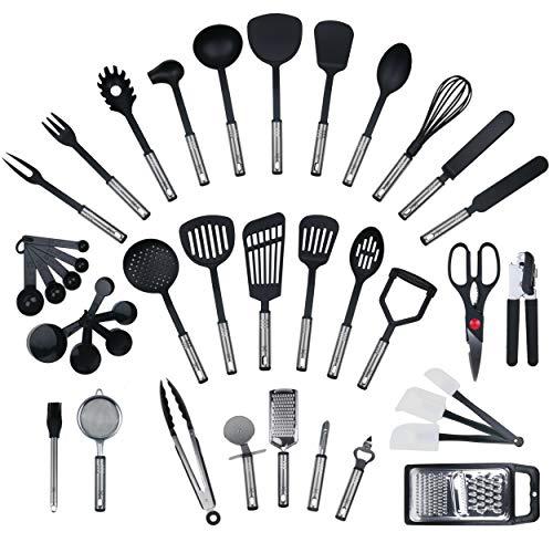 JETZT NEU - 42 teiliges-Set von KRONENKRAFT®, Küchenhelfer Set aus Edelstahl und Nylon Kochen Tools einschließlich Turners, Tongs, Löffel, Messbecher, Schneebesen , Dosenöffner, Schäler, Schaber