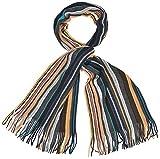Intermoda Écharpe tricotée à rayures pour homme Multicolore - Bleu - Taille Unique