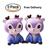 2 Pack Squishies Squeeze Jumbo Glaxy Toy 5 inch Deer, Fanceeast Cream Scented Slow Rising Decompression Toys Kids Gift Stress Relive for Adults ((2 PC Galaxy Deer))
