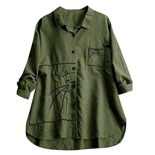 Andouy Damen Hemd Top Kariertes Langarm Leinen Plus Size Gr.38-46 Tunika Knopf Lose Bluse Übergroß(4XL(50).Grün-Stickerei) -