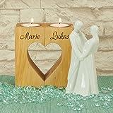 Geschenke 24 Kerzenständer Herz – graviertes Teelichthalter-Set mit Wunschnamen