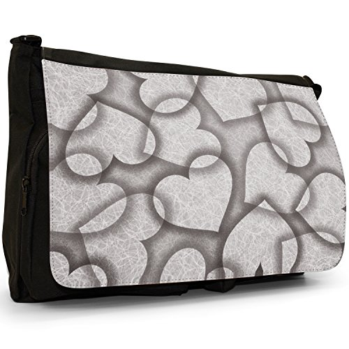 Fancy A Bag Borsa Messenger nero Bubbling Love Red Hearts Interlocked Hearts On Grey Background