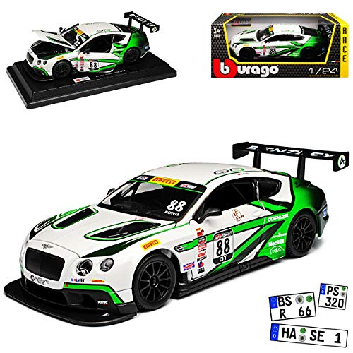 Bburago Bentley Continental GT3 Weiss Grün Nr 88 1/24 Modell Auto (Bentley Modell)