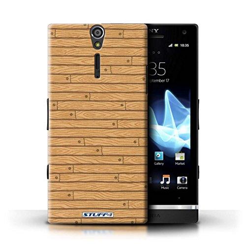 Kobalt® Imprimé Etui / Coque pour Sony Xperia S/LT26i / Beige conception / Série Motif Bois Beige
