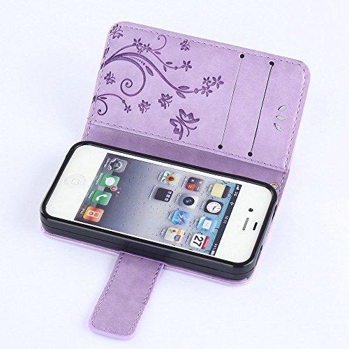 iPhone 4/4G/4S Premium PU Portefeuille en cuir Housse, newstars Folio Étui à rabat pour Téléphone portable Motif Lovers mobile pour protéger la peau étui en cuir pour iPhone 4/4G/4S Téléphone suppor Embossing Light Purple
