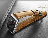 FENGT Iwatch Gurt Apple Watch Series 3, Seires 2, Serie 1 Für Apple Watch Band 42MM / 38MM, Lederband Retro-Stil Klassischen Metallschnalle Ersatzband,Lightbrown,42Mm