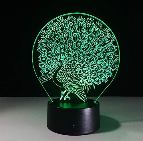 3 Colores Cambio Led Lámpara De Noche Búho De Dibujos Animados Holograma 3D S Rojo Azul Púrpura Cambiable Lámpara De Estado De Ánimo Cable Eu Plug