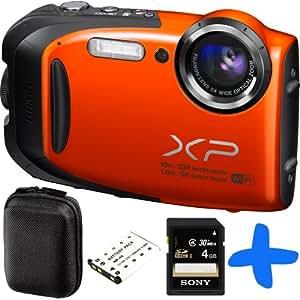 Fuji XP70 Orange Waterproof Digital Camera Bundle + 8GB + Float Strap+Carry Case Case (Fujifilm Finepix XP70 16.4MP, WiFi, 5x Optical Zoom, Waterproof to 33ft/10m, Shockproof to 5ft/1.5m, Full HD Movies)