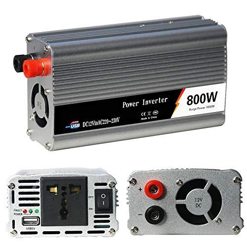 ZIHENGUO 800W Wechselrichter, DC 12V zu AC 220V / 230V 50Hz Transformer Peak 1600W Auto-Konverter mit 1 USB-Anschluss / 1 AC-Universalsteckdose
