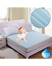"RIte Clique Babycare 100 % Waterproof Mattress Protector Double Bed King Size Cover (Blue, 72""X78""X Elastic Strap 5"")"