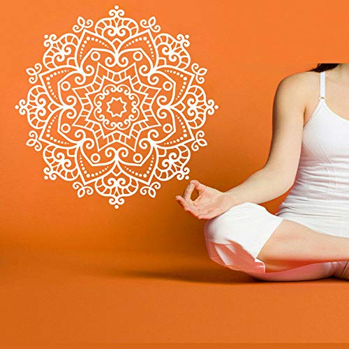 Yoga Hindu Buddha Statue Wandaufkleber Vinyl Wanddekor Home Gym Dekoration Lotus Mandala Wandbild Muster Hausgarten Wandaufkleber Dunkelgrau 56x56 cm
