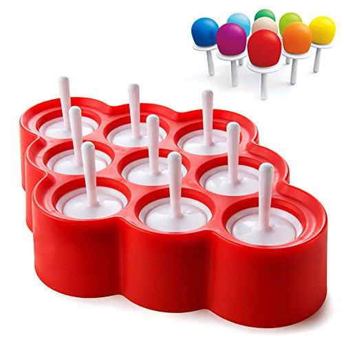 Mystery&Melody Mini-EIS-Schimmel-Silikon-Bar-Form-Set EIS-Lolly-Formen Wiederverwendbare DIY Gefrorene EIS-Pop-Formen EIS-Lolly (Red) -