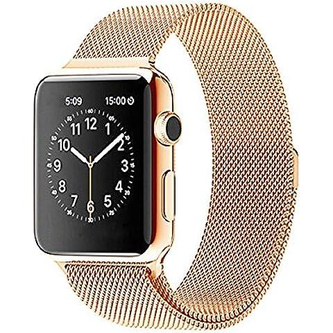 Ultra ® reloj de oro rosa de calidad superior de 42 mm Milanese Bucle de acero inoxidable Correa para relojes de Apple de 42 mm de espesor incluyendo adaptadores de 42mm con adaptadores y una correa