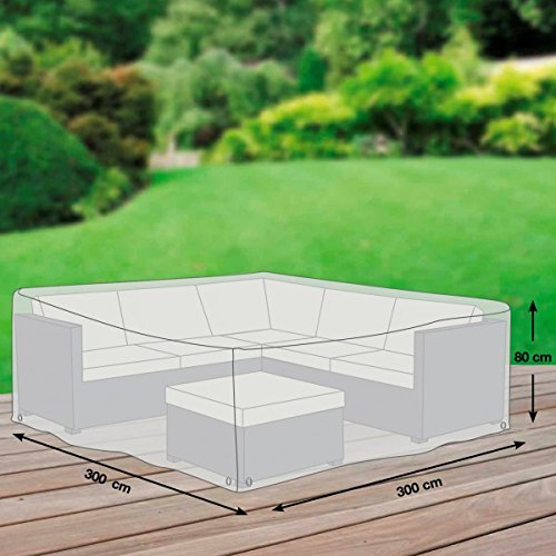 Gartenmöbel Schutzhülle / Abdeckung - Premium XXL (300 x 300 x 80 cm) wasserdichte Abdeckplane für Eck-Loungegruppe / Oxford 600D Polyestergewebe / mit Ventilationsöffnungen