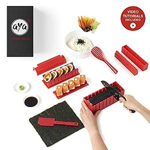 Sushi Maker Kit - SushiAya Sushi Maker Rot Komplett mit Sushi Messer und Exklusiv Video Tutorials 11 Stück DIY Sushi Set - Einfach und Spaß für Anfänger - Sushi Rollen Maker- Maki Roll - Sushi Roller