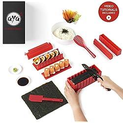 Le Sushi Maker AYA - Appareil et Moules à Sushi - Kit de Préparation à Sushi et Maki - 11 pièces - avec couteau expert pour Sushi - Kit Sushi