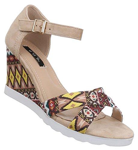 Damen Sandaletten Schuhe Pumps Plateau Heels Stilettos Keilabsatz Wedges schwarz beige rot camel 36 37 38 39 40 41 Beige