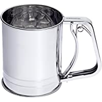 Andrew James Flour Sifter with Handle - Trigger Action Sieve with Large 3 Cup Capacity - Also Perfect as Chocolate Shaker for Cappuccino and Icing Sugar