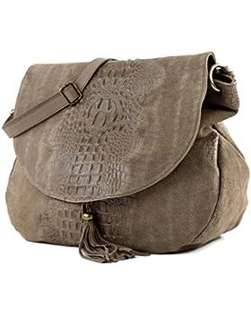 modamoda de - ital. Tasche Damentasche Handtasche Umhängetasche Schultertasche Ledertasche Wildleder/Kroko T68
