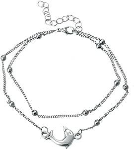 BANGLE009retro delfino ciondolo multistrato catena cavigliera donna a piedi nudi spiaggia di Silver
