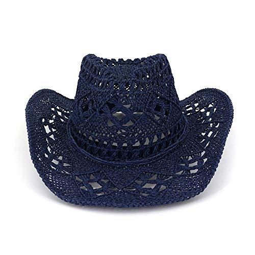 Giow Frauen Sommer Stroh Sonnenhut Stroh Cowboy Cowgirl Hut Western Outback Sonnenhut mit breiter Krempe Für Frauen Damen Mädchen (Farbe: Blau)