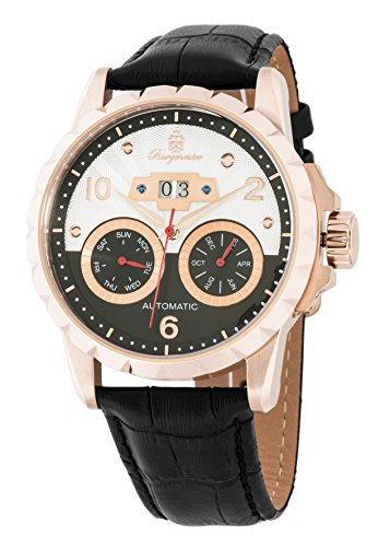 Burgmeister BM248-322 Ruston, Gents automatic watch, Analogue display - Water resistant, Stylish leather strap, Classic men's watch