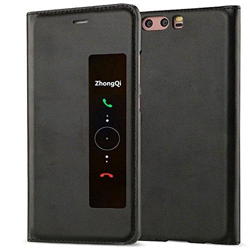 Huawei P10 Plus Custodia GOGODOG Inteligente Finestra Vista Ultra Magro Flip Auto Dormire / Wake Multifunzionale Protettore Copertina per P10 Plus (5,5 Pollici) (Nero)