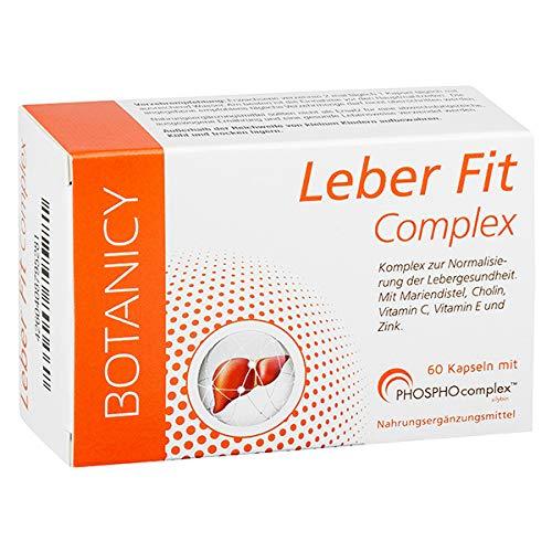 LEBER FIT Complex, hochdosierter Komplex aus dem Markenrohstoff PHOSPHOcomplex inkl. Silymarin + Vitamine + Mineralstoffe, 8-10 Mal bessere Bioverfügbarkeit, 60 Kapseln (Monatspack)