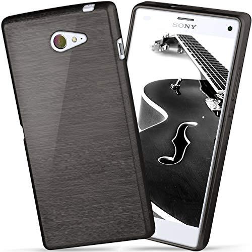 moex Sony Xperia M2 | Hülle Silikon Schwarz Brushed Back-Cover TPU Schutzhülle Ultra-Slim Handyhülle für Sony Xperia M2 / M2 Dual / M2 Aqua Case Dünn Silikonhülle Rückseite Tasche