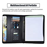 Decdeal Multifunctional Professional Business Portfolio Padfolio Folder Document Case Organizer A4 PU Leather Zippered Closure with Calculator Card Holder Memo Note Writing Pad