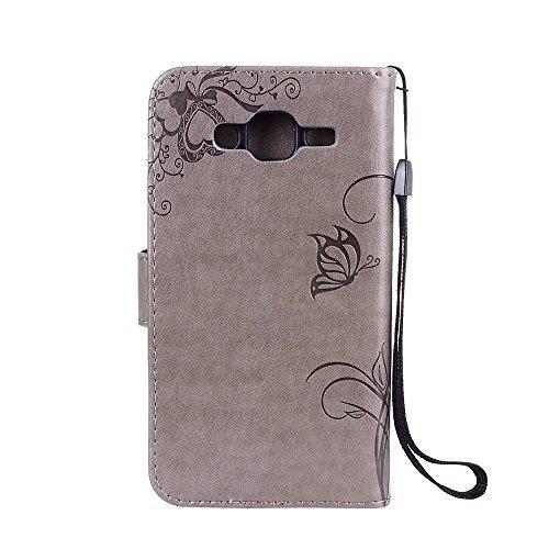 Horizontale Bookstyle Flip Case Premium PU Ledertasche, Solid Color Embossed Blumen Schutzhülle Tasche Tasche mit Lanyard & Stand für Samsung Galaxy J5 ( Color : Red ) Gray