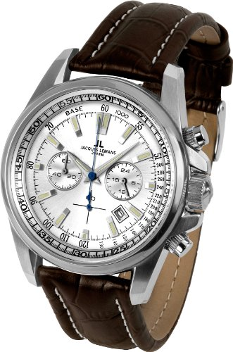 Jacques Lemans Liverpool 1-1117BN Men's Chronograph Brown Leather Strap Watch