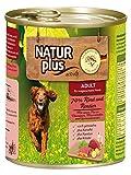 NATUR plus Hundefutter ADULT mit 70% Rind & Rentier - getreidefrei (6 x 800 g)