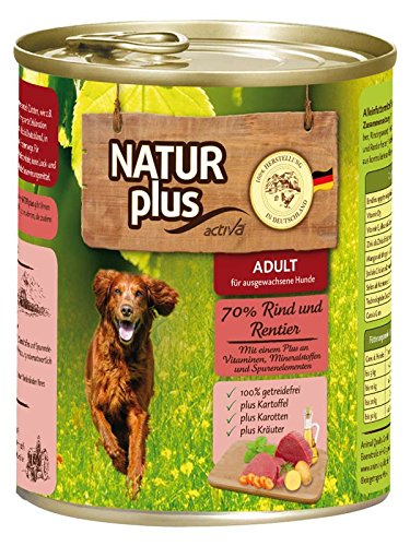NATUR plus Hundefutter ADULT mit 70% Rind & Rentier - getreidefrei (6 - Plus Hundefutter Natur
