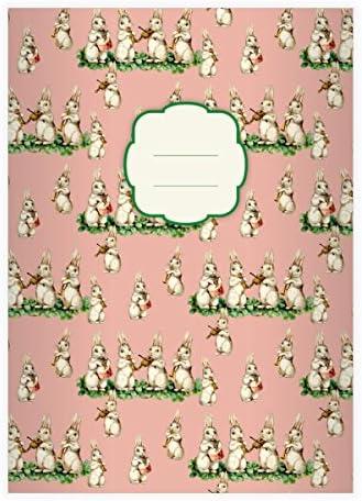 4 Mignonnes cahiers retro avec des petits lapins faisant de la musique , rose, A5 (21x14,8), cahiers de maths linéatur 5 (carreaux 5mm, sans bord) | D'adopter La Technologie De Pointe