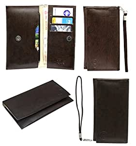 Jo Jo A5 G3 Leather Wallet Universal Pouch Cover Case For Sony Xperia X Performance Dark Brown
