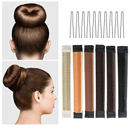 2x Dutt Hilfe Donut Hair Bun Maker dunkel braun Haare Damen styling Haar fast