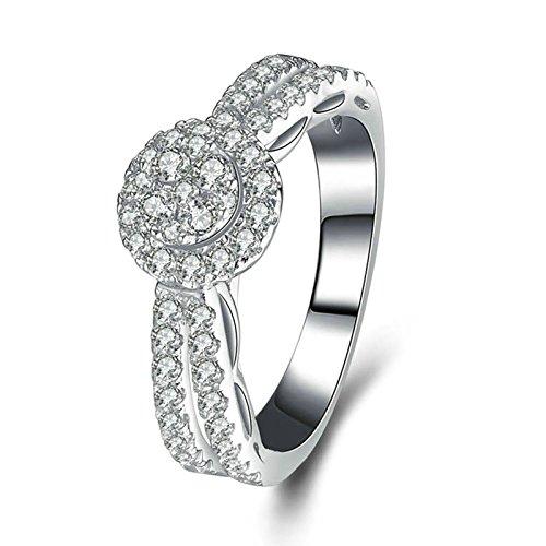 Anazoz fedi nuziali comfort bianco cubic zirconia incisione gratuita fedine argento anelli misura 10