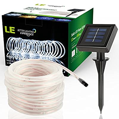 LE 10m 100 LED Solar Rope Lights, Waterproof Outdoor Rope Lights, 6000K Daylight White, Portable, LED String Light with Light Sensor, Ideal for Wedding, Party, Decorations, Gardens, Lawn, Patio