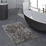 Paco Home Moderner Hochflor Badezimmer Teppich Einfarbig Badematte Rutschfest In Grau, Grösse:Ø 80 cm Rund
