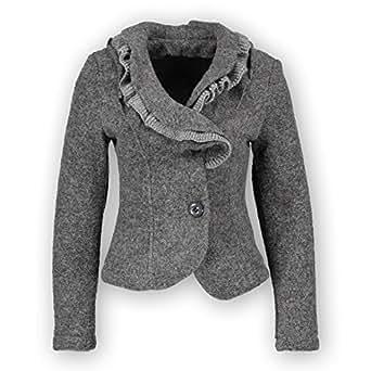 H4F Damen Walk Blazer Jacke mit Volant Kragen Grau L: H4F